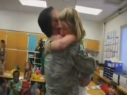A Soldier Surprising His Daughter