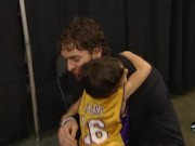 Ezra French meeting Basketball Hero Pau Gasol